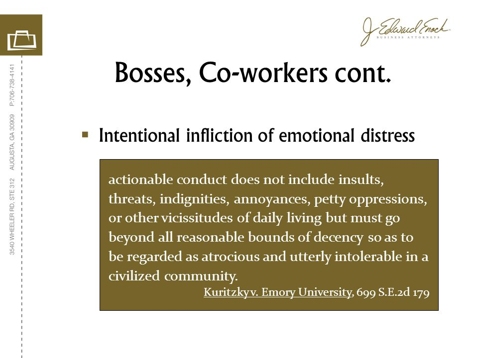 Bosses, Co-workers cont.