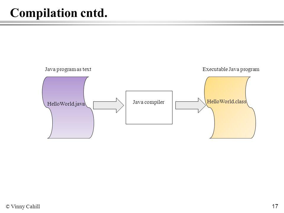 © Vinny Cahill 17 Compilation cntd. HelloWorld.java Java program as text Java compiler HelloWorld.class Executable Java program