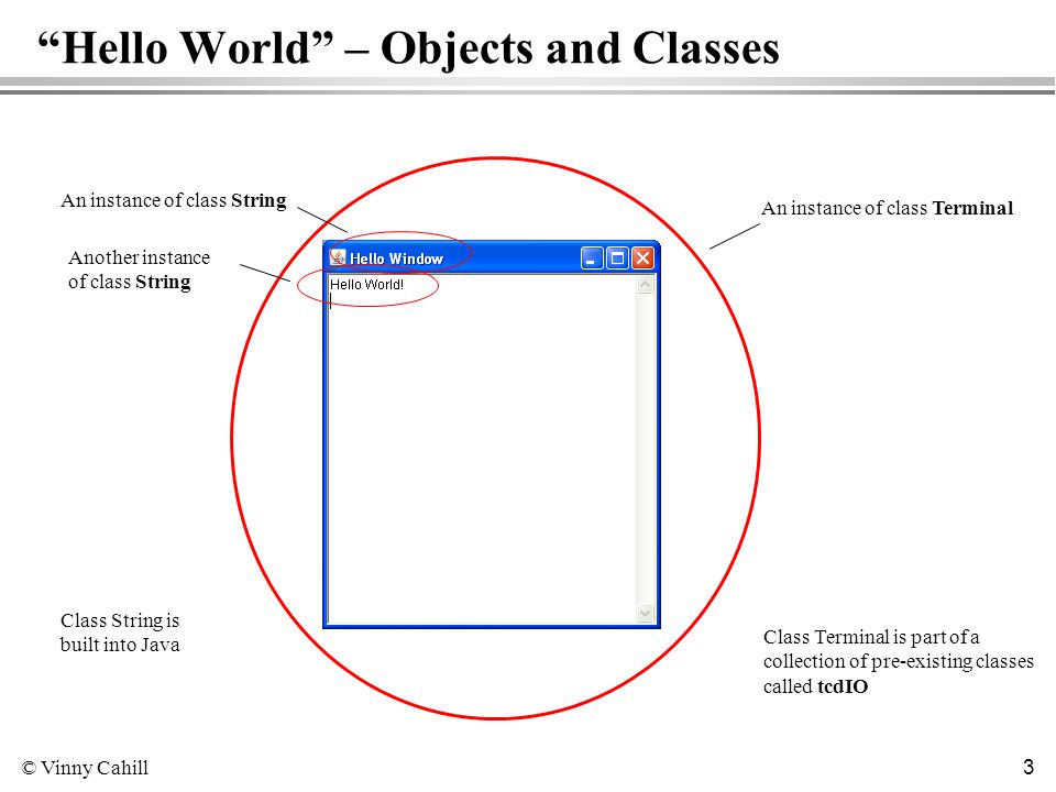 © Vinny Cahill 3 Hello World – Objects and Classes An instance of class Terminal An instance of class String Another instance of class String Class String is built into Java Class Terminal is part of a collection of pre-existing classes called tcdIO