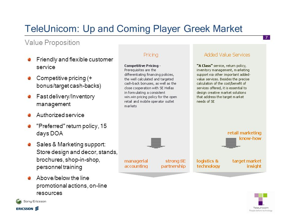 7 TeleUnicom: Up and Coming Player Greek Market Value Proposition Friendly and flexible customer service Competitive pricing (+ bonus/target cash-back