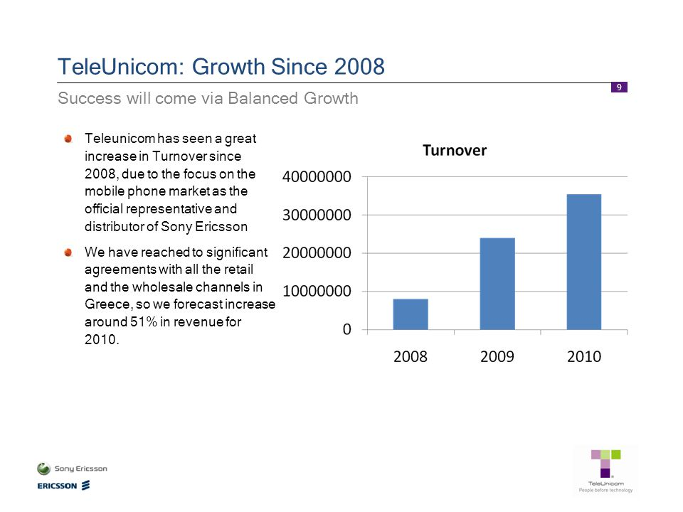 9 TeleUnicom: Growth Since 2008 Teleunicom has seen a great increase in Turnover since 2008, due to the focus on the mobile phone market as the offici