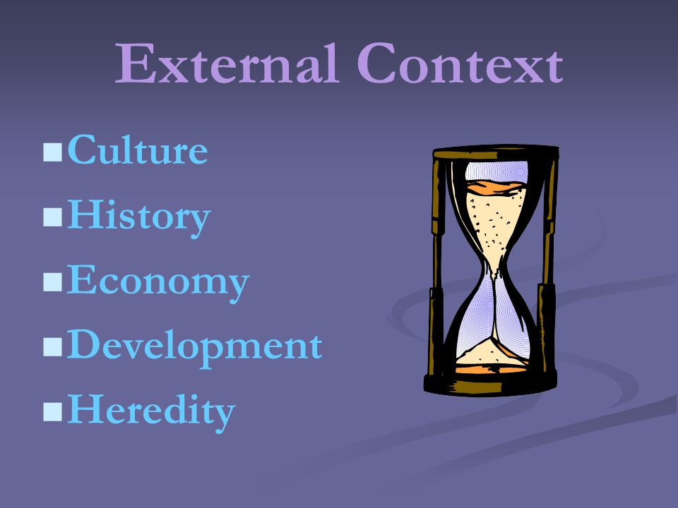 External Context Culture History Economy Development Heredity