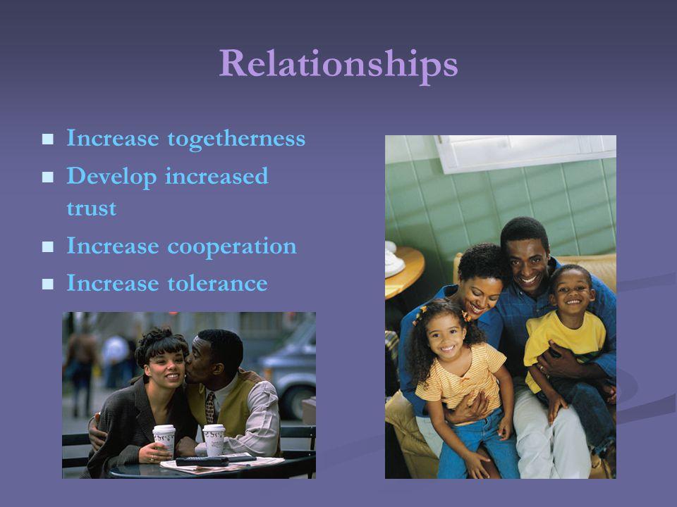 Relationships Increase togetherness Develop increased trust Increase cooperation Increase tolerance