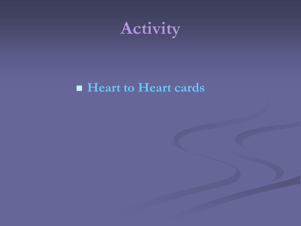 Activity Heart to Heart cards