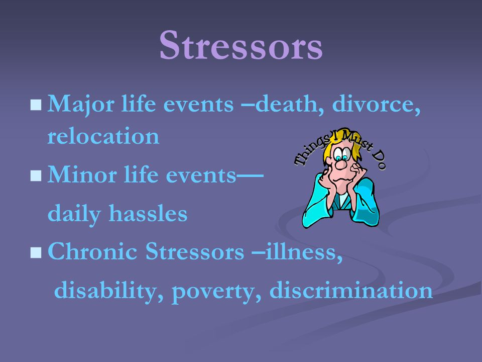 Stressors Major life events –death, divorce, relocation Minor life events daily hassles Chronic Stressors –illness, disability, poverty, discrimination