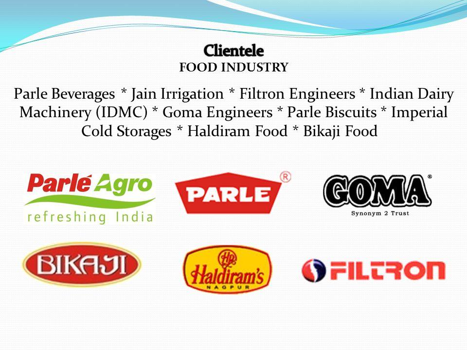 Parle Beverages * Jain Irrigation * Filtron Engineers * Indian Dairy Machinery (IDMC) * Goma Engineers * Parle Biscuits * Imperial Cold Storages * Haldiram Food * Bikaji Food