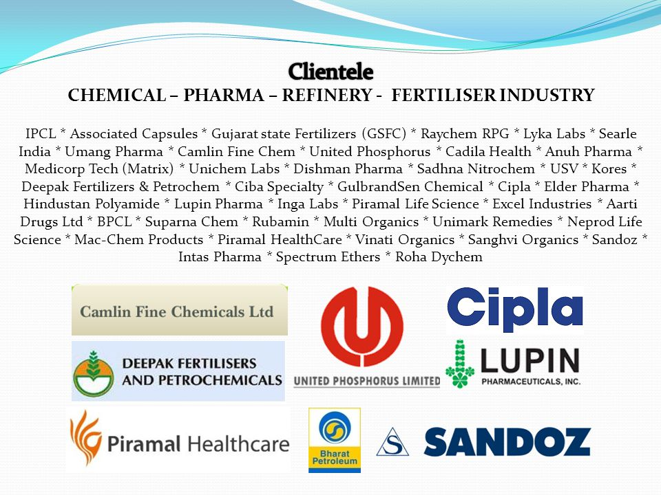 IPCL * Associated Capsules * Gujarat state Fertilizers (GSFC) * Raychem RPG * Lyka Labs * Searle India * Umang Pharma * Camlin Fine Chem * United Phos