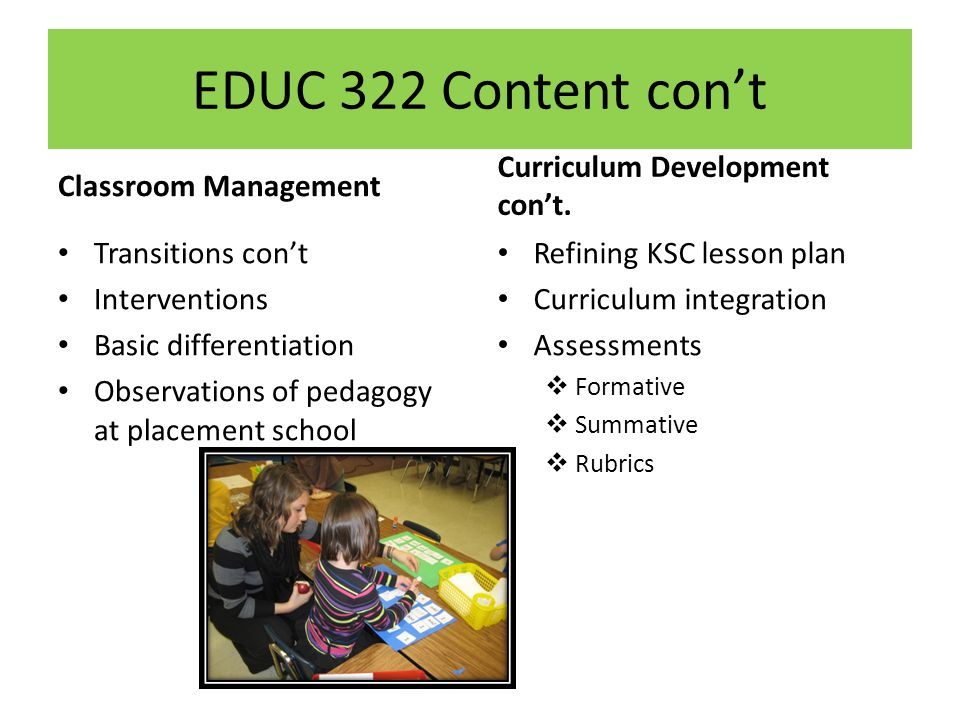 EDUC 322 Content cont Classroom Management Transitions cont Interventions Basic differentiation Observations of pedagogy at placement school Curriculum Development cont.
