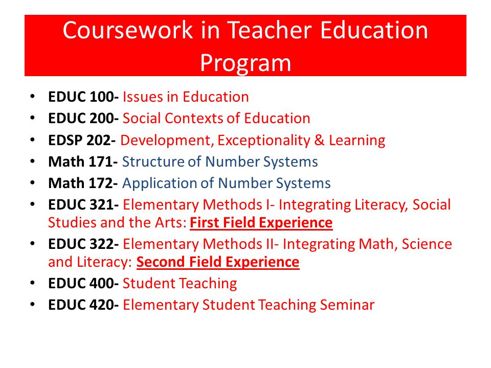 Coursework in Teacher Education Program EDUC 100- Issues in Education EDUC 200- Social Contexts of Education EDSP 202- Development, Exceptionality & Learning Math 171- Structure of Number Systems Math 172- Application of Number Systems EDUC 321- Elementary Methods I- Integrating Literacy, Social Studies and the Arts: First Field Experience EDUC 322- Elementary Methods II- Integrating Math, Science and Literacy: Second Field Experience EDUC 400- Student Teaching EDUC 420- Elementary Student Teaching Seminar