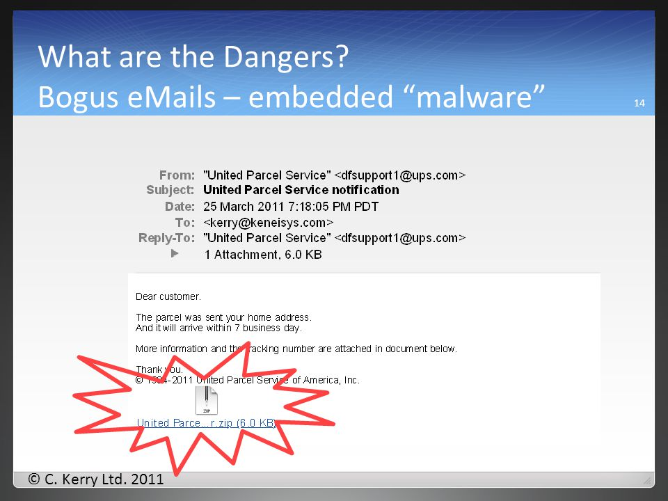 © C. Kerry Ltd. 2011 What are the Dangers Bogus eMails – with scam contents 13