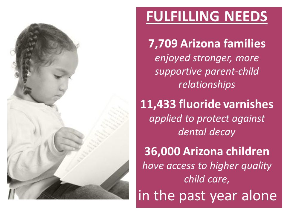 FULFILLING NEEDS 7,709 Arizona families enjoyed stronger, more supportive parent-child relationships 11,433 fluoride varnishes applied to protect agai