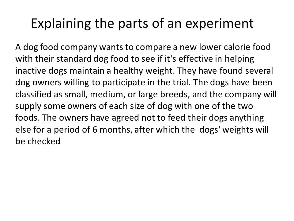 Explaining the parts of an experiment A dog food company wants to compare a new lower calorie food with their standard dog food to see if it s effective in helping inactive dogs maintain a healthy weight.