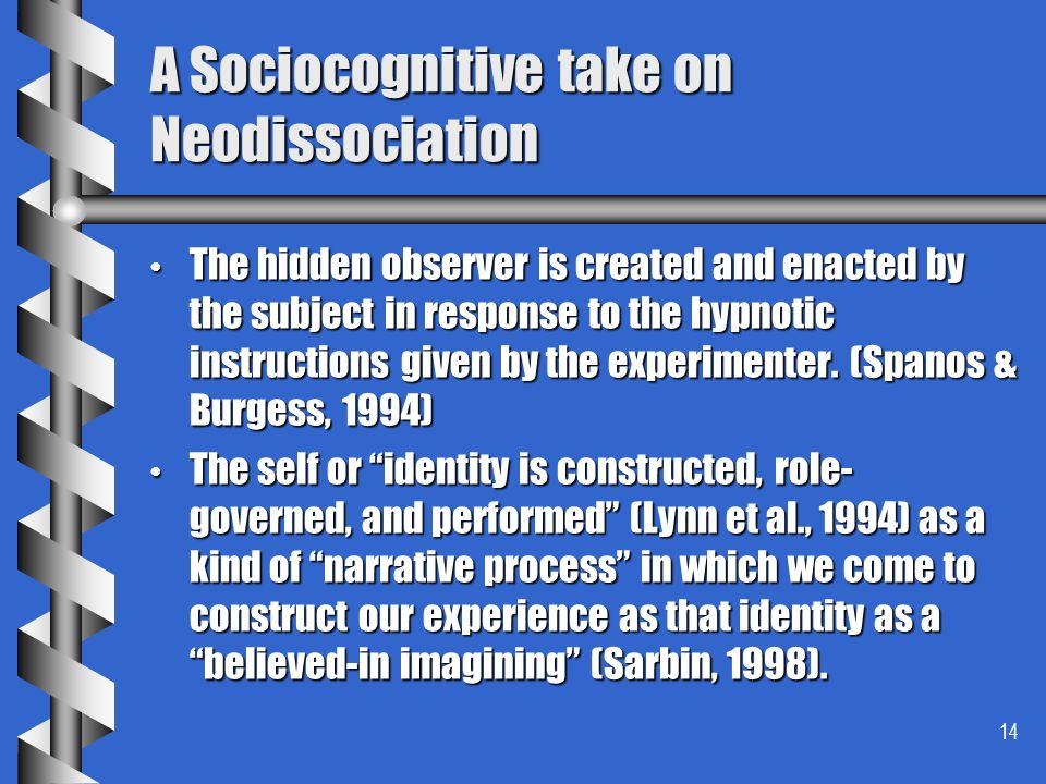 14 A Sociocognitive take on Neodissociation The hidden observer is created and enacted by the subject in response to the hypnotic instructions given b