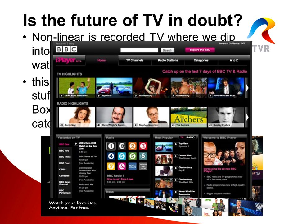 Non-linear is recorded TV where we dip into a pool of content and choose what to watch and the order in which we watch it this is what happens when we record stuff on our PVR, visit YouTube,install Boxee, go to TVR Plus or use the iPlayer catch-up services.