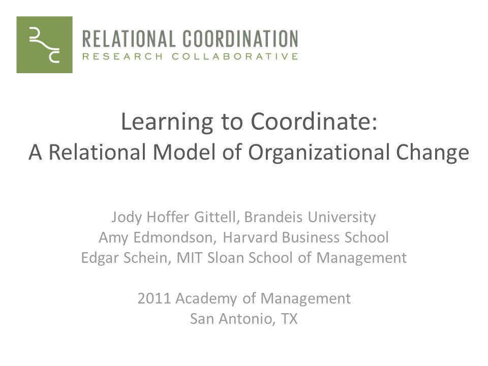 Learning to Coordinate: A Relational Model of Organizational Change Jody Hoffer Gittell, Brandeis University Amy Edmondson, Harvard Business School Edgar Schein, MIT Sloan School of Management 2011 Academy of Management San Antonio, TX
