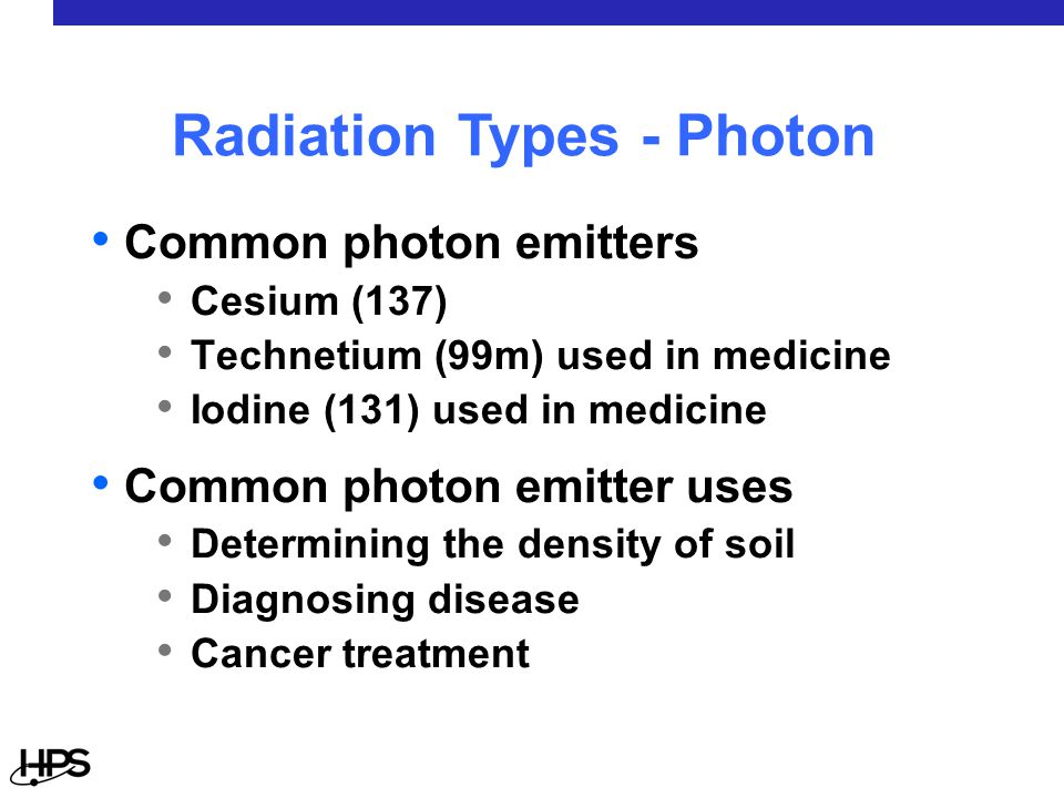 Common photon emitters Cesium (137) Technetium (99m) used in medicine Iodine (131) used in medicine Common photon emitter uses Determining the density of soil Diagnosing disease Cancer treatment Radiation Types - Photon