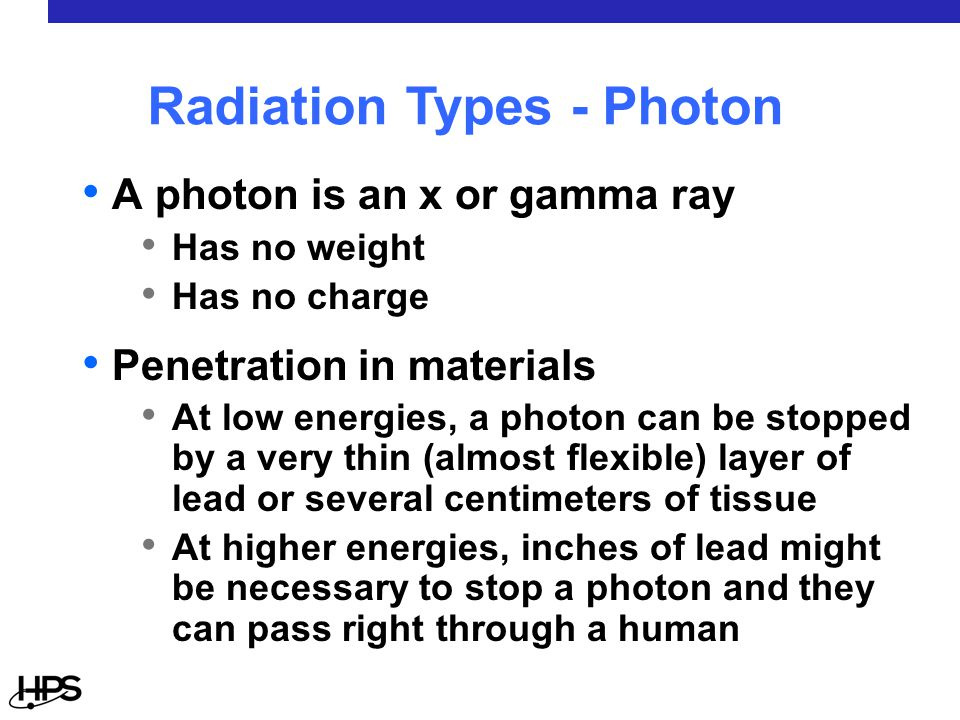 A photon is an x or gamma ray Has no weight Has no charge Penetration in materials At low energies, a photon can be stopped by a very thin (almost flexible) layer of lead or several centimeters of tissue At higher energies, inches of lead might be necessary to stop a photon and they can pass right through a human Radiation Types - Photon