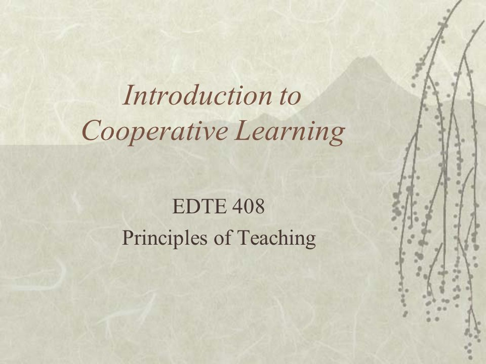 Introduction to Cooperative Learning EDTE 408 Principles of Teaching