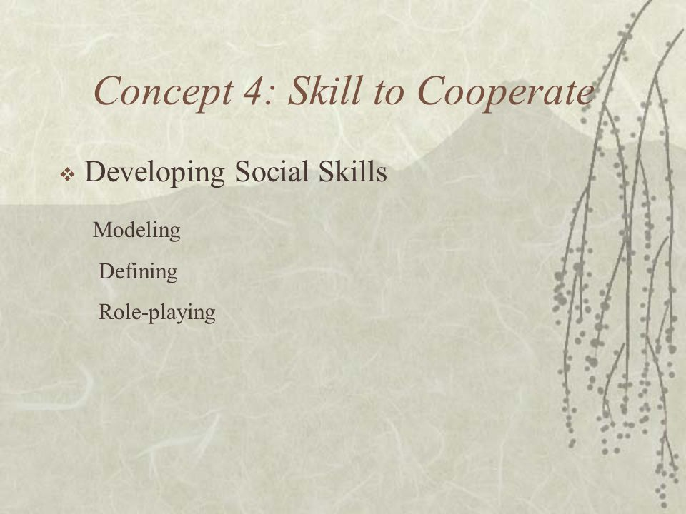 Concept 4: Skill to Cooperate Developing Social Skills Modeling Defining Role-playing