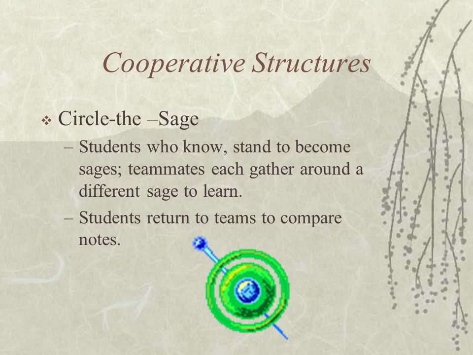 Cooperative Structures Circle-the –Sage –Students who know, stand to become sages; teammates each gather around a different sage to learn. –Students r