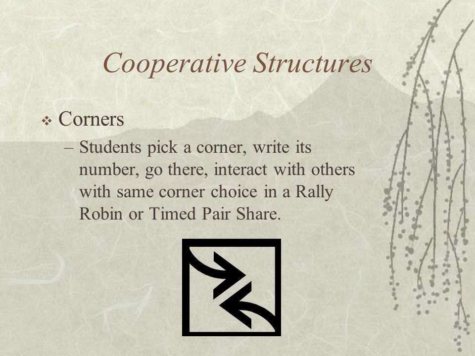 Cooperative Structures Corners –Students pick a corner, write its number, go there, interact with others with same corner choice in a Rally Robin or T