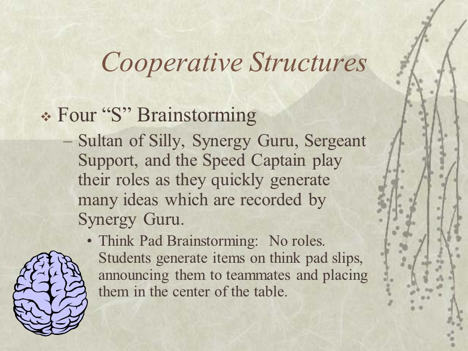 Cooperative Structures Four S Brainstorming –Sultan of Silly, Synergy Guru, Sergeant Support, and the Speed Captain play their roles as they quickly g