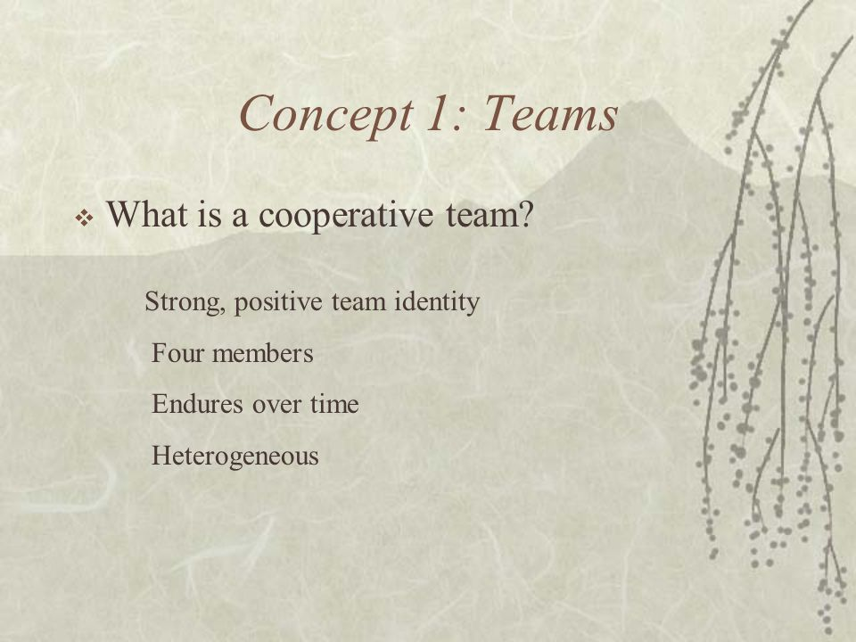 Concept 1: Teams What is a cooperative team? Strong, positive team identity Four members Endures over time Heterogeneous