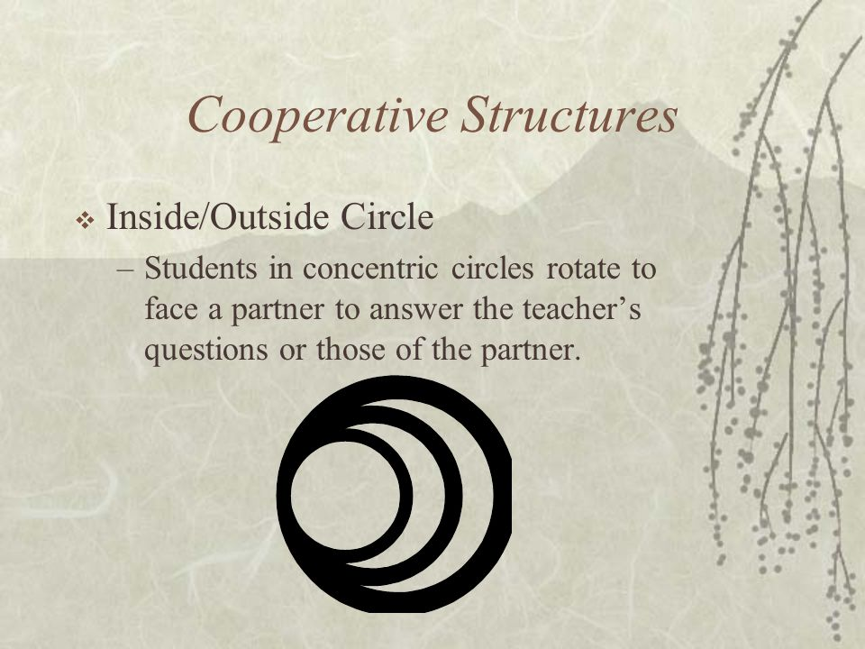 Cooperative Structures Inside/Outside Circle –Students in concentric circles rotate to face a partner to answer the teachers questions or those of the