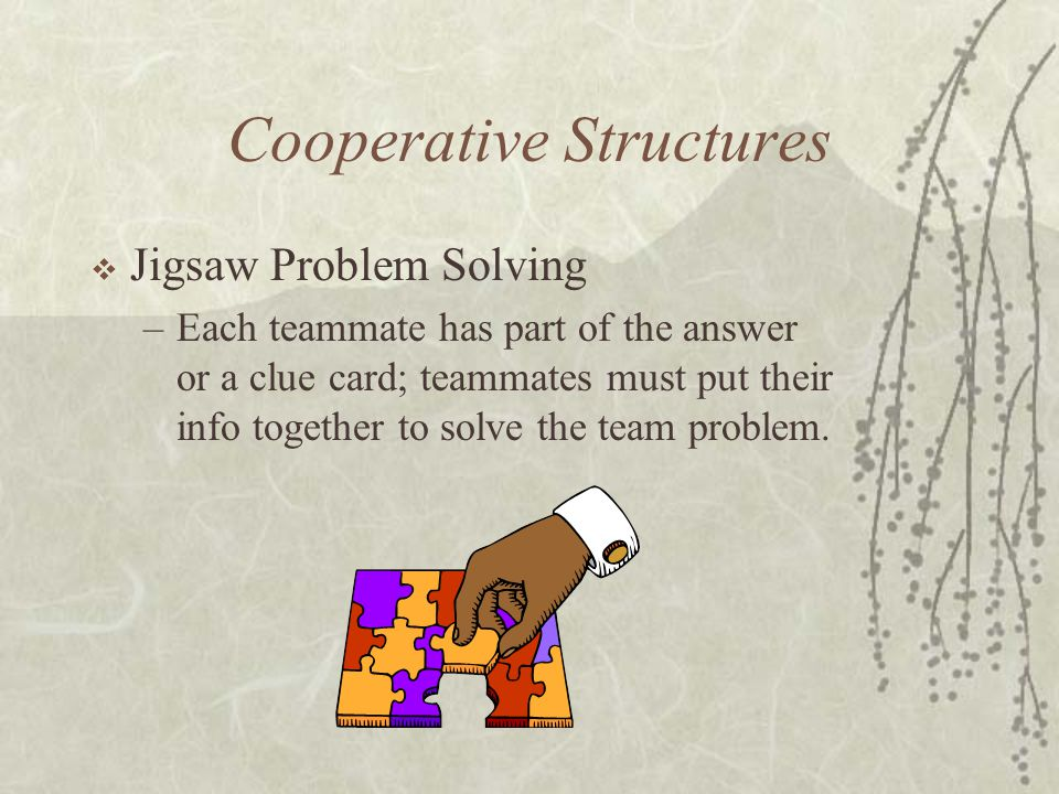 Cooperative Structures Jigsaw Problem Solving –Each teammate has part of the answer or a clue card; teammates must put their info together to solve th