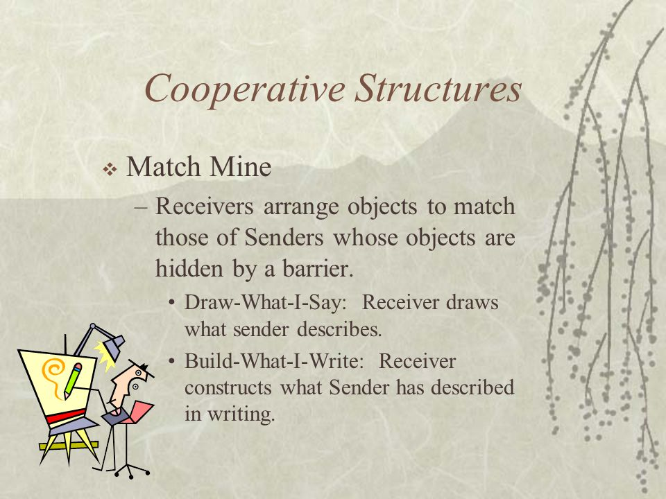 Cooperative Structures Match Mine –Receivers arrange objects to match those of Senders whose objects are hidden by a barrier. Draw-What-I-Say: Receive