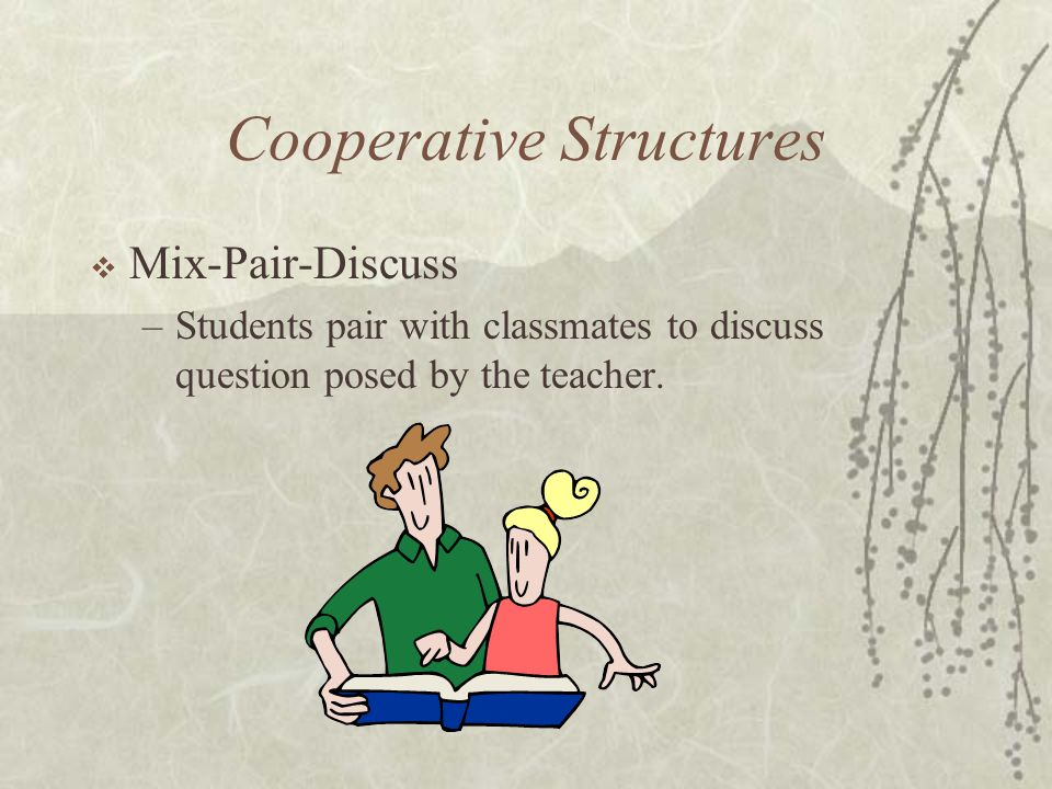 Cooperative Structures Mix-Pair-Discuss –Students pair with classmates to discuss question posed by the teacher.