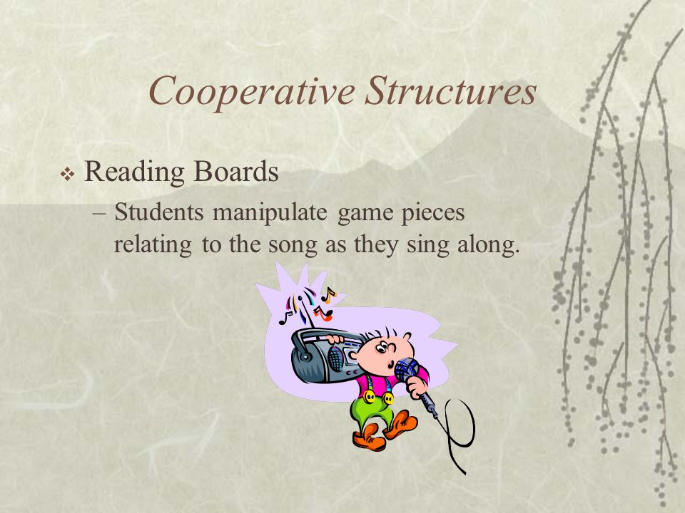 Cooperative Structures Reading Boards –Students manipulate game pieces relating to the song as they sing along.