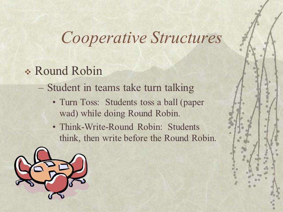 Cooperative Structures Round Robin –Student in teams take turn talking Turn Toss: Students toss a ball (paper wad) while doing Round Robin. Think-Writ