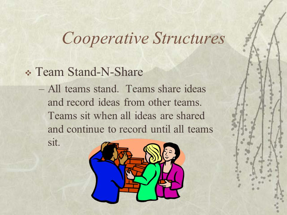 Cooperative Structures Team Stand-N-Share –All teams stand. Teams share ideas and record ideas from other teams. Teams sit when all ideas are shared a
