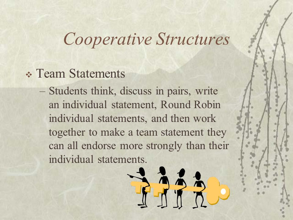 Cooperative Structures Team Statements –Students think, discuss in pairs, write an individual statement, Round Robin individual statements, and then w