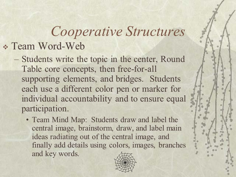 Cooperative Structures Team Word-Web –Students write the topic in the center, Round Table core concepts, then free-for-all supporting elements, and br