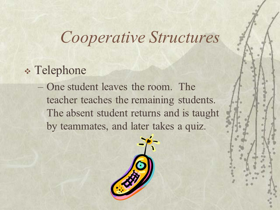 Cooperative Structures Telephone –One student leaves the room. The teacher teaches the remaining students. The absent student returns and is taught by