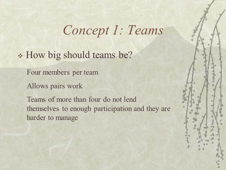 Concept 1: Teams How big should teams be? Four members per team Allows pairs work Teams of more than four do not lend themselves to enough participati