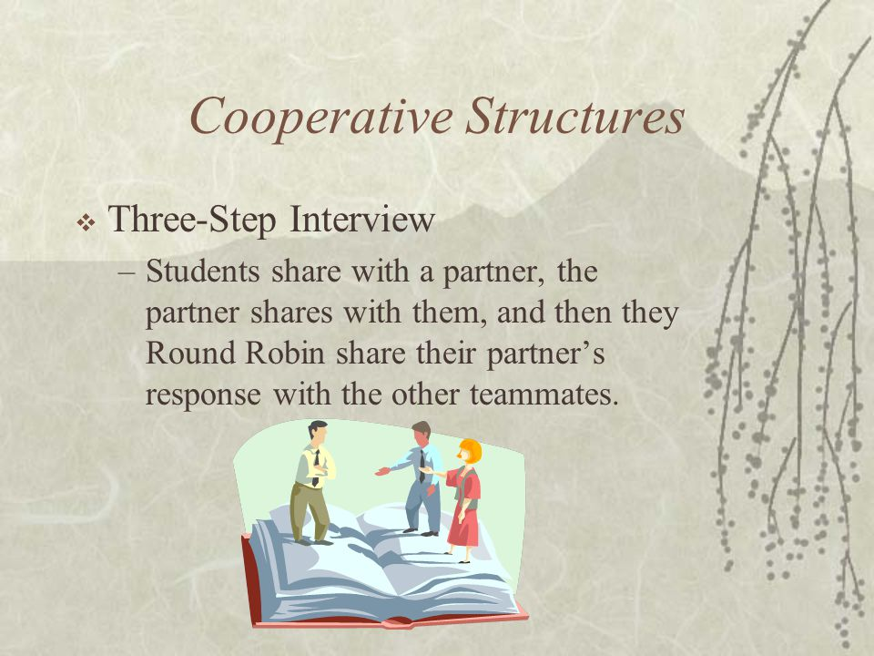 Cooperative Structures Three-Step Interview –Students share with a partner, the partner shares with them, and then they Round Robin share their partne