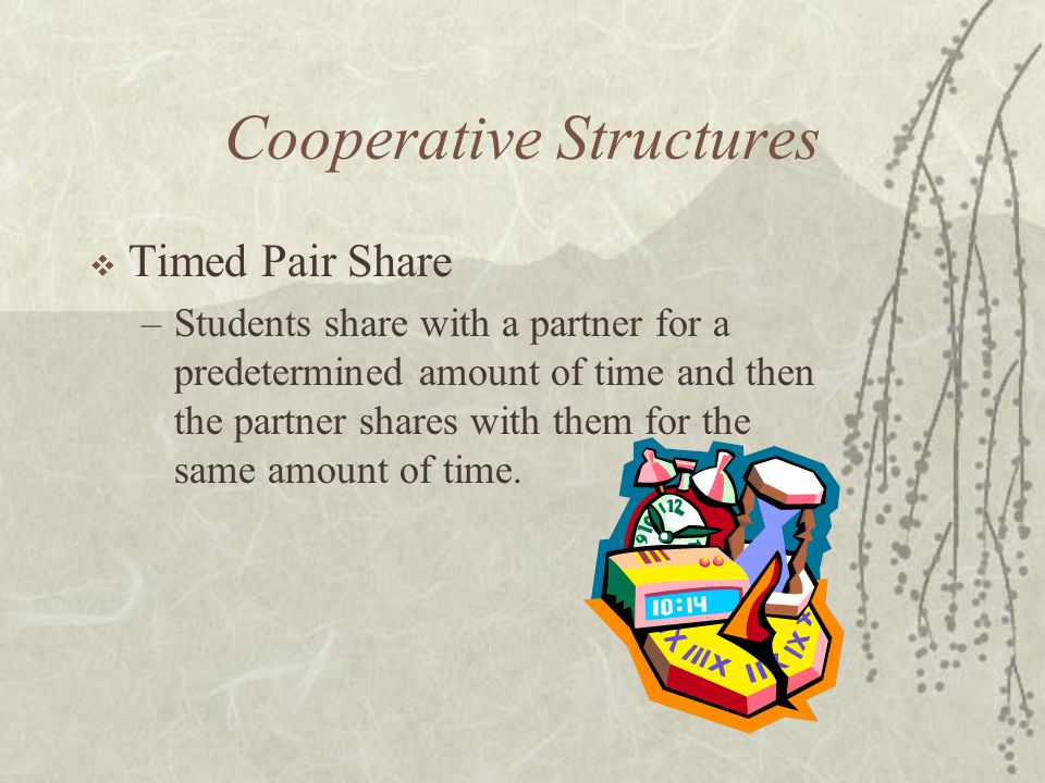 Cooperative Structures Timed Pair Share –Students share with a partner for a predetermined amount of time and then the partner shares with them for th