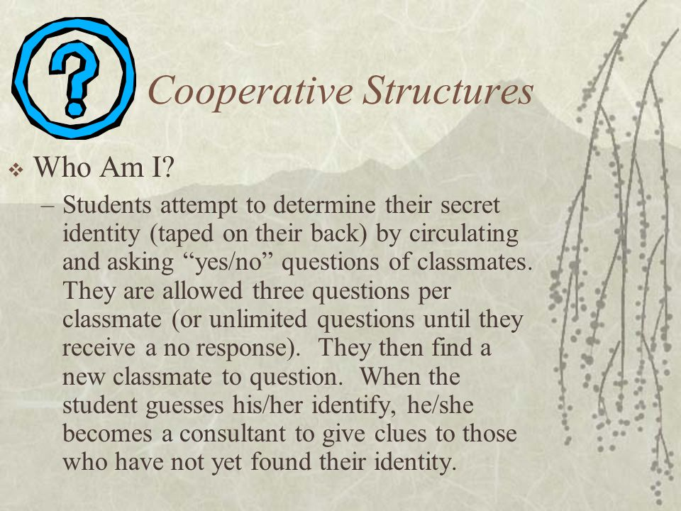 Cooperative Structures Who Am I? –Students attempt to determine their secret identity (taped on their back) by circulating and asking yes/no questions