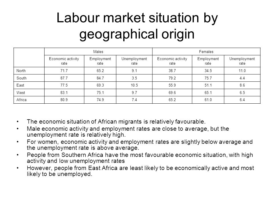 Labour market situation by geographical origin The economic situation of African migrants is relatively favourable.