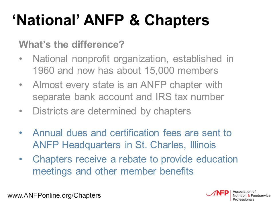National ANFP & Chapters Whats the difference.