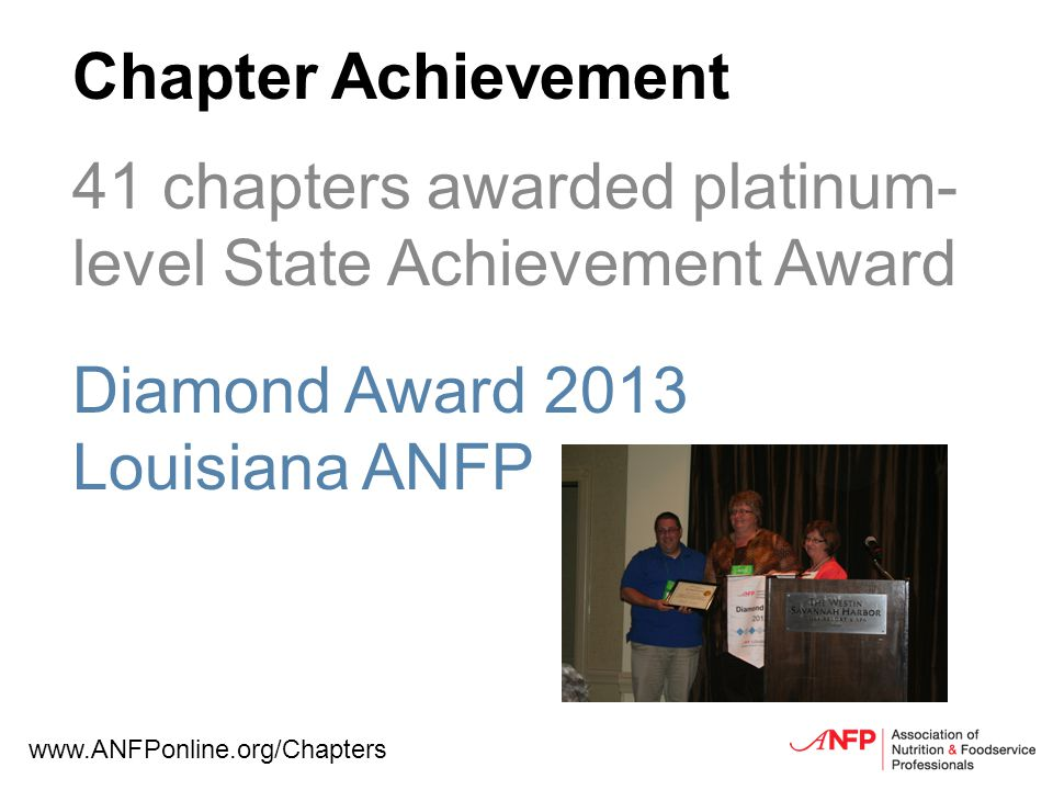 Chapter Achievement 41 chapters awarded platinum- level State Achievement Award Diamond Award 2013 Louisiana ANFP www.ANFPonline.org/Chapters