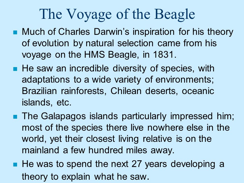 The Voyage of the Beagle n Much of Charles Darwins inspiration for his theory of evolution by natural selection came from his voyage on the HMS Beagle