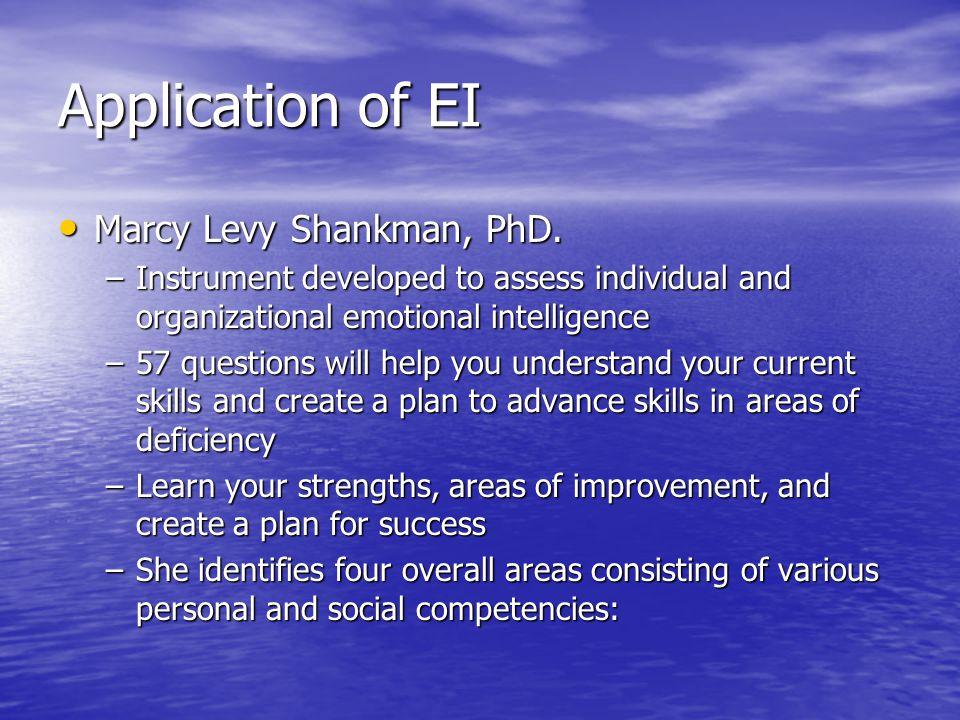 Application of EI Marcy Levy Shankman, PhD. Marcy Levy Shankman, PhD.