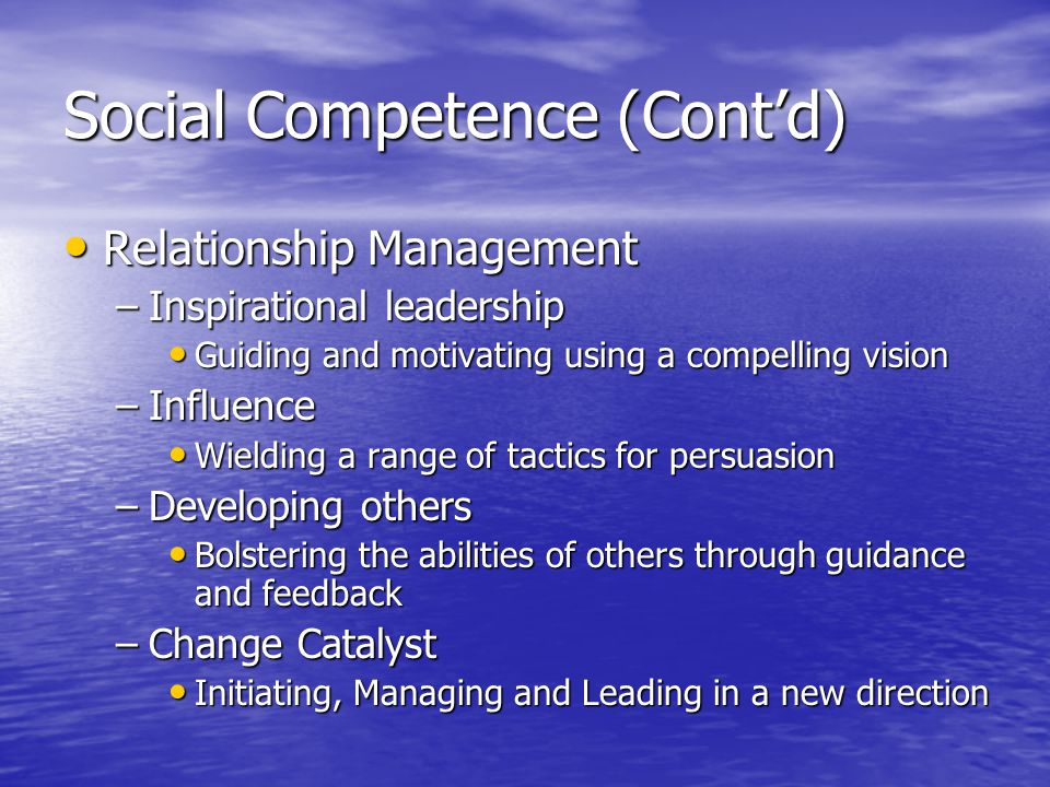 Social Competence (Contd) Relationship Management Relationship Management –Inspirational leadership Guiding and motivating using a compelling vision Guiding and motivating using a compelling vision –Influence Wielding a range of tactics for persuasion Wielding a range of tactics for persuasion –Developing others Bolstering the abilities of others through guidance and feedback Bolstering the abilities of others through guidance and feedback –Change Catalyst Initiating, Managing and Leading in a new direction Initiating, Managing and Leading in a new direction