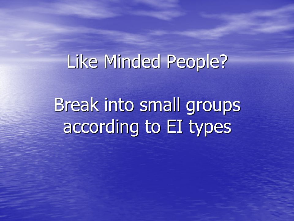 Like Minded People Break into small groups according to EI types