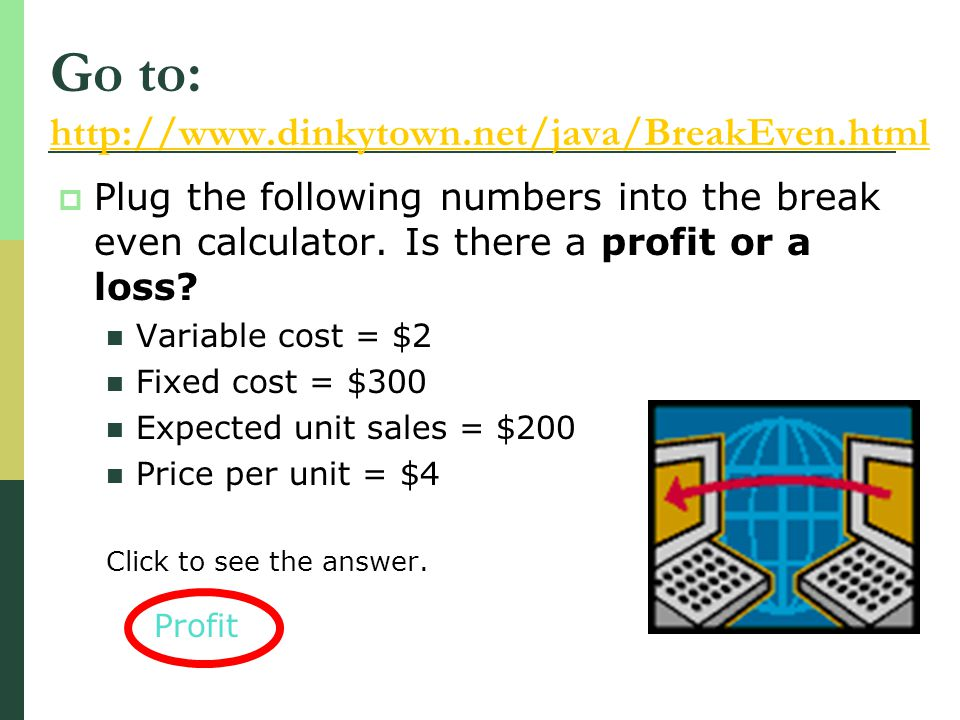 Plug the following numbers into the break even calculator. Is there a profit or a loss? Variable cost = $2 Fixed cost = $300 Expected unit sales = $20