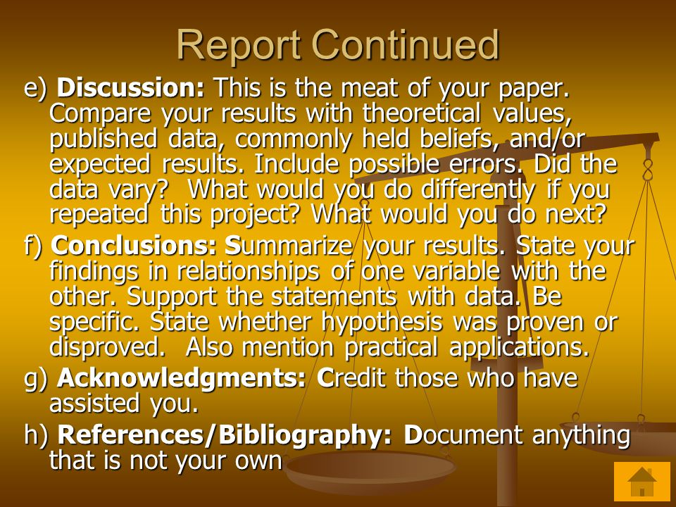 Report A good research paper should include: a) Title Page and Table of Contents b) Introduction: The introduction includes purpose or problem, hypoth